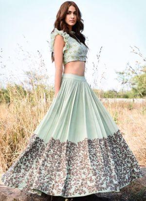Latest Arrival Light Green Heavy Embroidery Designer Lehenga Choli