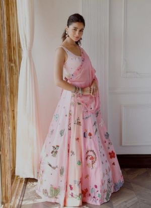 Latest Bollywood Style Powder Pink Digital Print Lehenga Choli