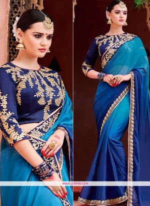 Latest Chinon Silk Georgette Designer Saree In Sky Blue And Navy Color