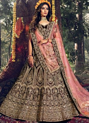 Latest Collection Maroon Pure Velvet Bridal Lehenga Choli