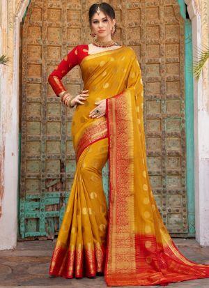 Latest Design Mustard Naylon Silk Saree