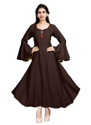Latest Design Pure Heavy Rayon Brown Kurti Collection