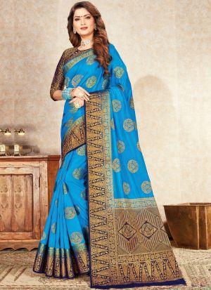 Latest Design Sky Blue Naylon Silk Saree