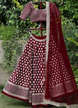 Latest Design Traditional Wear Maroon Soft Taffeta Silk Lehenga Choli