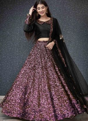 Latest Design Traditional Wear Purple Velvet Lehenga Choli