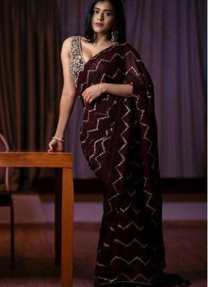 Latest Designer Georgette Brown Fancy Thread Work Saree