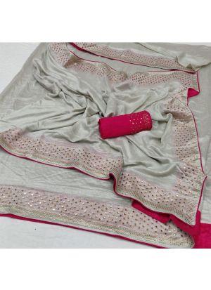 Latest Designer Grey Silk Saree