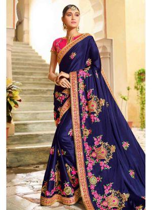 Latest Designer Navy Rangoli Silk Saree