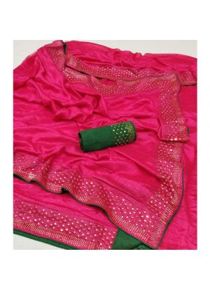 Latest Designer Pink Silk Saree