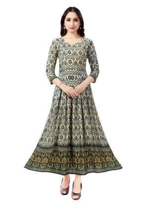Latest Designer Pure Heavy Rayon Green Colour Ladies Kurtis