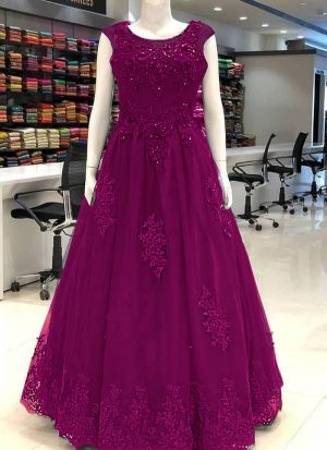 Latest Designer Rani Colour Thread Work Long Gown