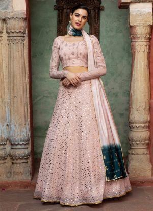 Latest Dusty Pink Georgette Lehenga Choli