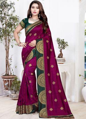 Latest Fancy Two Tone Vichitra Silk Embroidered Elegant Saree