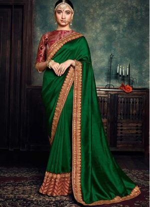Latest Green Rangoli Silk Bollywood Saree