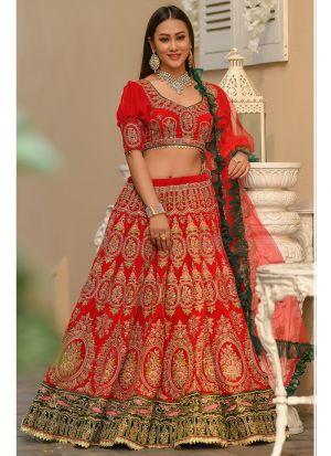 Latest Indian 9000 Velvet Red Designer Lehenga Choli