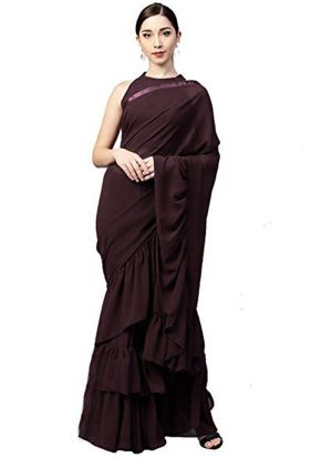 Latest Indian Coffee Georgette Silk Plain Ruffle Sarees Collection