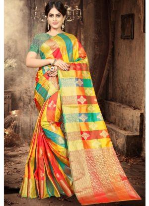 Latest Indian Fashion Multi Color Silk Woven Saree