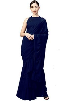 Latest Indian Navy Georgette Silk Plain Ruffle Sarees Collection