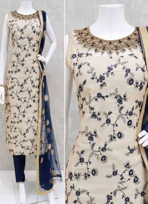 Latest Launch Party Wear Off White Rayon Salwar Suit