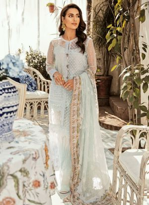 Latest Launched Pastel Mint Dress With Chipli Work