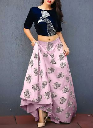 Latest Pink Printed Jacquard Designer Lehenga