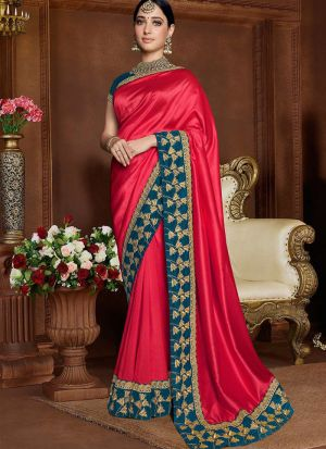 Latest Pink Rangoli Silk Bollywood Saree