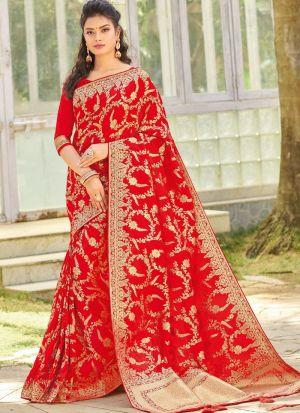 Latest Red Color Silk Designer Sarees