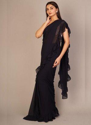 Latest Style Black Georgette Ruffle Saree