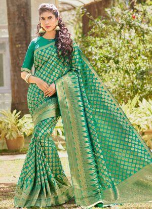 Latest Traditional Look Silk Sea Green Saree