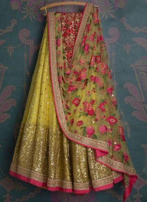 Lemon Yellow Naylon Mono Net Sequnce Lehenga Choli With Naylon Mono Net Dupatta