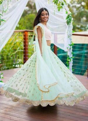 Light Aqua Net Traditional Hit Design Lehenga Choli