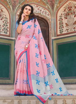 Light Baby Pink Linen Cotton Indian Traditional Saree
