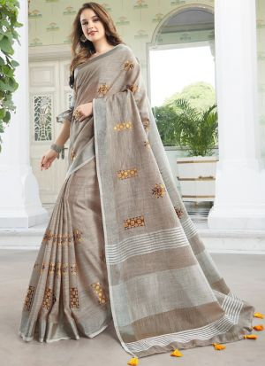 Light Brown South Indian Wedding Linen Cotton Saree