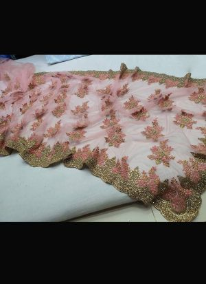 Light Coral Pink Soft Mono Net Saree