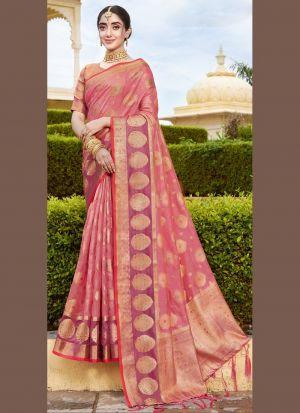 Light Coral Pink Weaving Saree