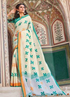 Light Cream Linen Cotton Beutiful Wedding Saree