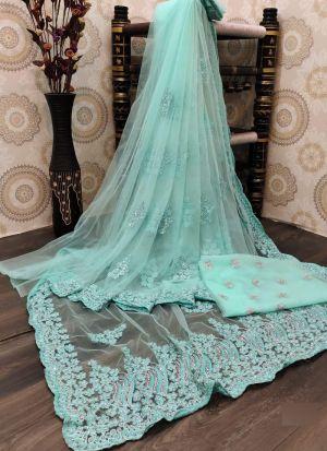 Light Cyan Nylon Mono Net Embroidery Saree