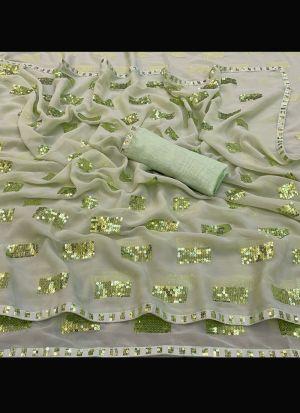 Light Green Georgette Silk Saree