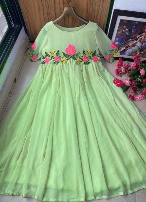 Light Green Heavy Georgette Gown