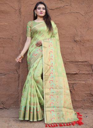 Light Green Lichi Silk Indian Style Saree