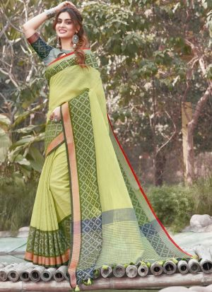 Light Green Linen Printed Saree