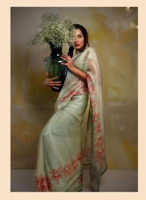 Light Green Organza Silk Decent Look Saree