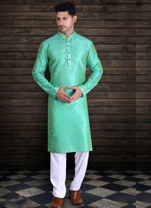 Light Green Pure Art Silk Long Kurta Set