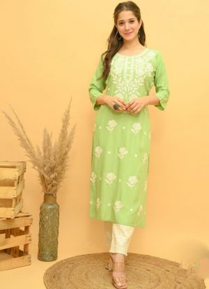 Light Green Rayon Embroidery Suit