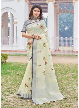 Light Lemon Colour Linen Cotton Beutiful Wedding Saree