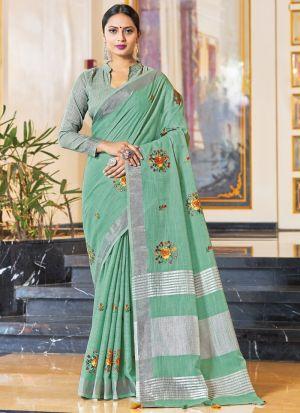 Light Mint Green Linen Saree