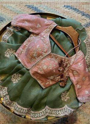 Light Mint Silk Wedding Wear Saree