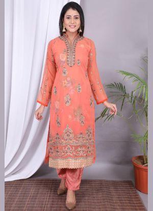 Light Orange Embroidery Work Suit