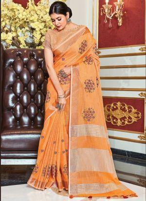 Light Orange Weaving Work Saree
