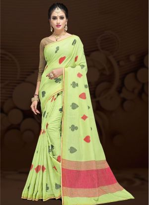Light Parrot Traditional Wear Saree In Cotton Silk Fabric